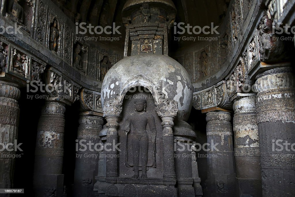 Buddihst statue is carved at the Ajanta Caves stock photo