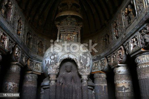 A buddihst statue is carved at the Ajanta Caves in Aurangabad district of Maharashtra, India, where about 300 rock-cut Buddhist cave monuments date from the 2nd century BCE to about 480 or 650 CE.