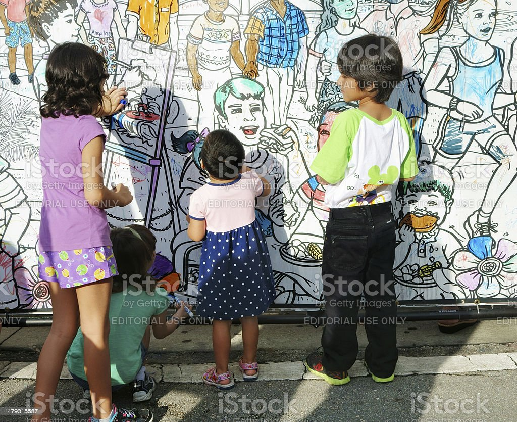 Budding artists at Lake Worth Street Painting Festival stock photo