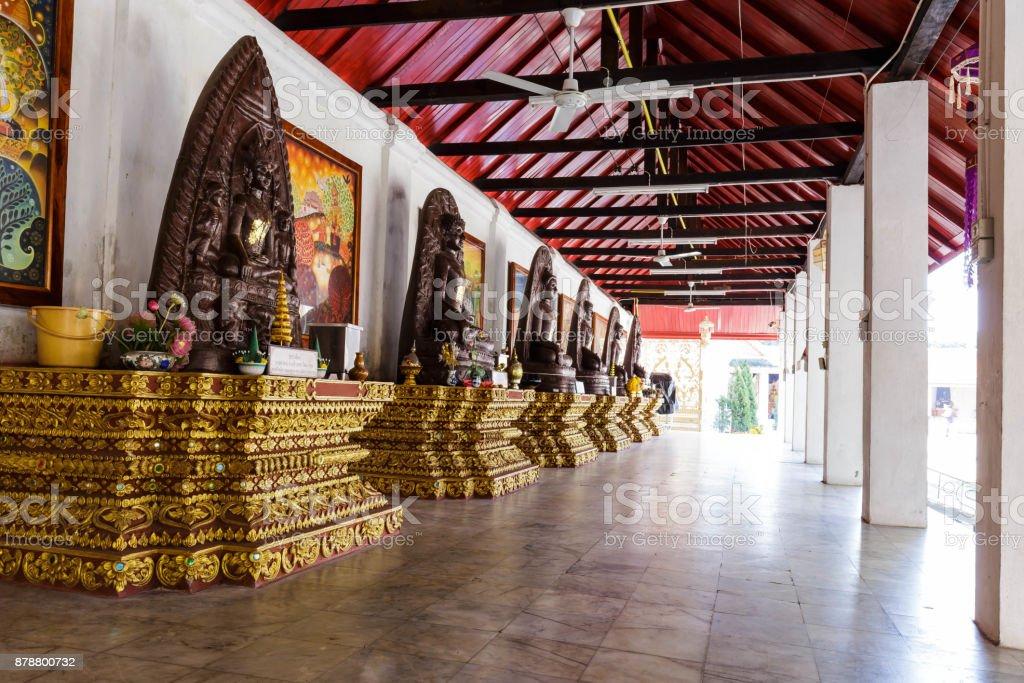 Buddish statues in Wat Phra That Hariphunchai at Lamphun north of Thailand stock photo