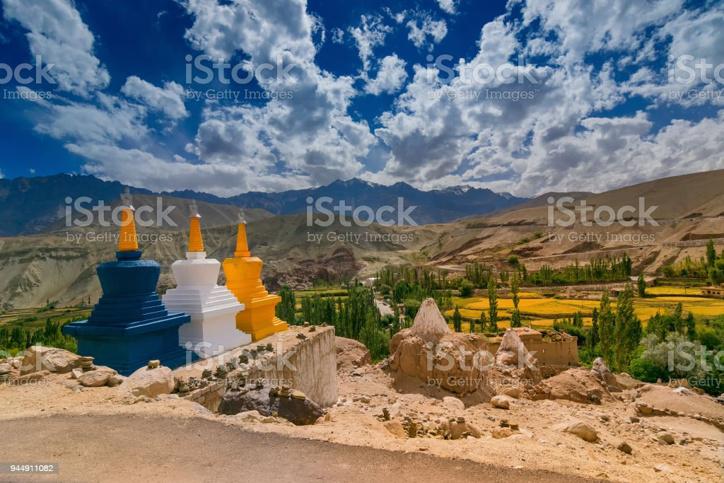 Buddist stupas at Basgo, Leh - Ladakh stock photo