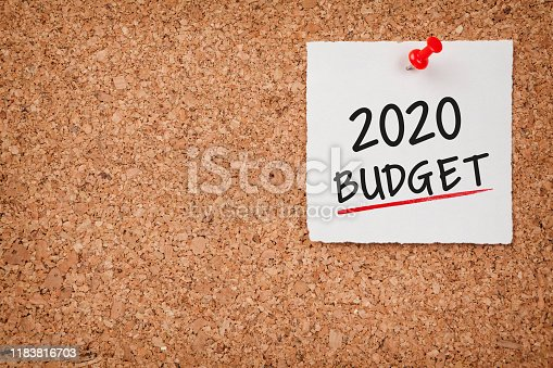 1170746979istockphoto Budget 2020 Word in White Sticky Note on Cork Board 1183816703