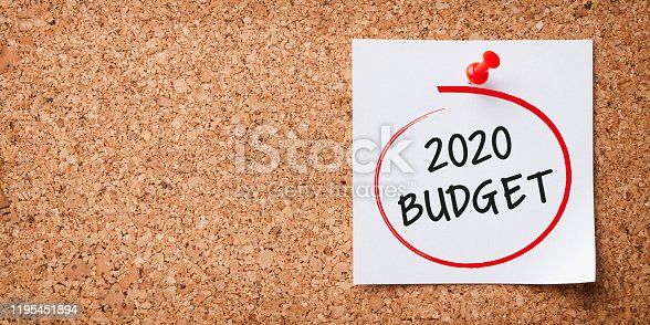 1170746979 istock photo Budget 2020 Word in White Sticky Note on Cork Board 1195451894