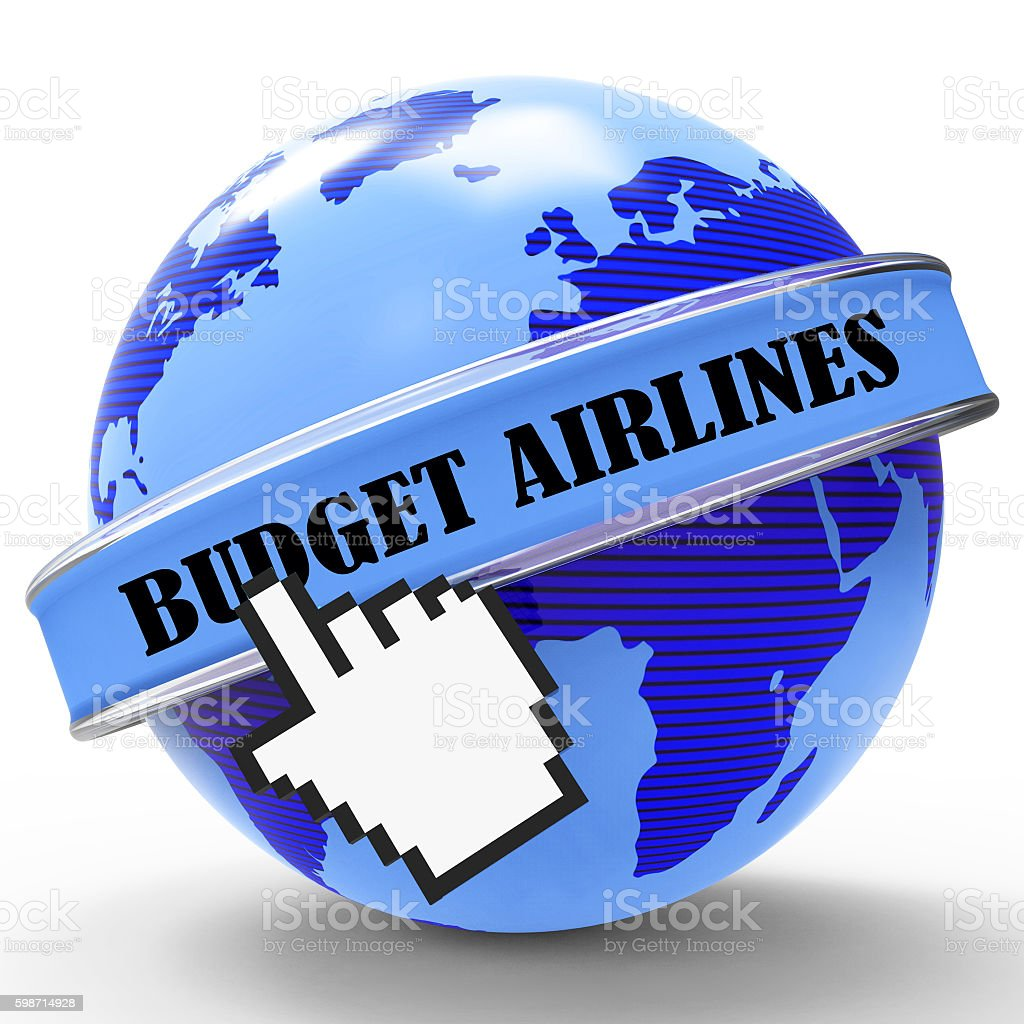 Budget Airlines Indicates Cut Price And Aircraft stock photo