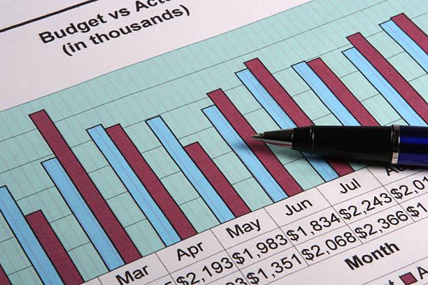 Budget bar graph stock photo
