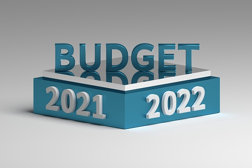 Abstract illustration with Budget planning concept idea for future 2021 and 2022 years. 3d illustration.