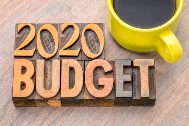 2020 budget concept in wood type stock photo