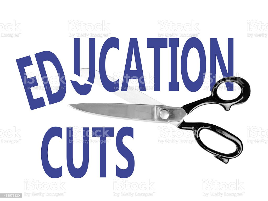 Budget cuts, Education, with scissors, isolated on white stock photo