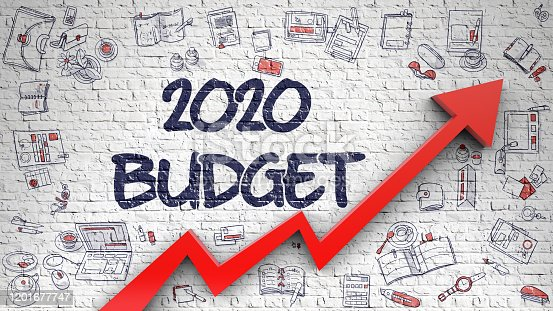 White Brick Wall with 2020 Budget Inscription and Red Arrow. Business Concept. 2020 Budget - Modern Illustration with Hand Drawn Elements.