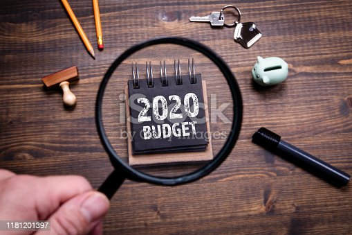 2020 Budget, family finances, economics, trade and career concept. Man's hand, holding magnifying glass