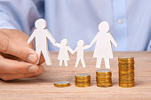 istock Budget of the family. Coins pile and the symbol of the family 976623956