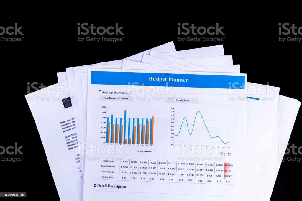 Budget Planner Balance Sheet Documents Paper With Black Background And Top  View, Business And Office