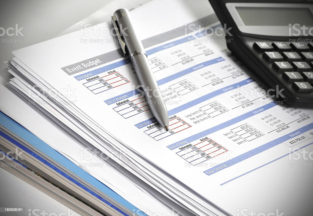 Budget planning, market data and financial figures in business concept stock photo