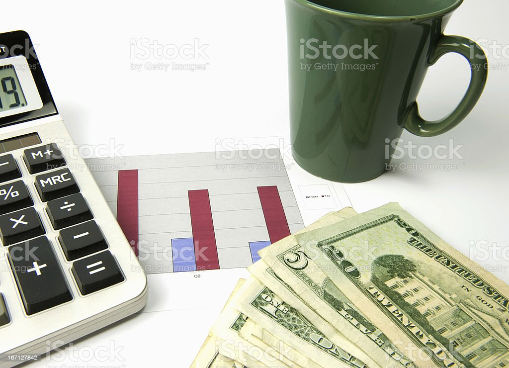 Budget planning with coffee stock photo