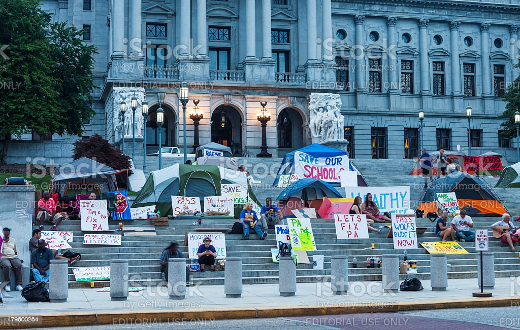 Budget Protest At The Pennsylvania State Capitol Building 2015 stock photo