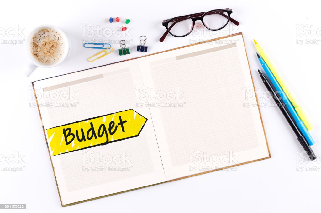 Budget text on notebook with copy space royalty-free stock photo