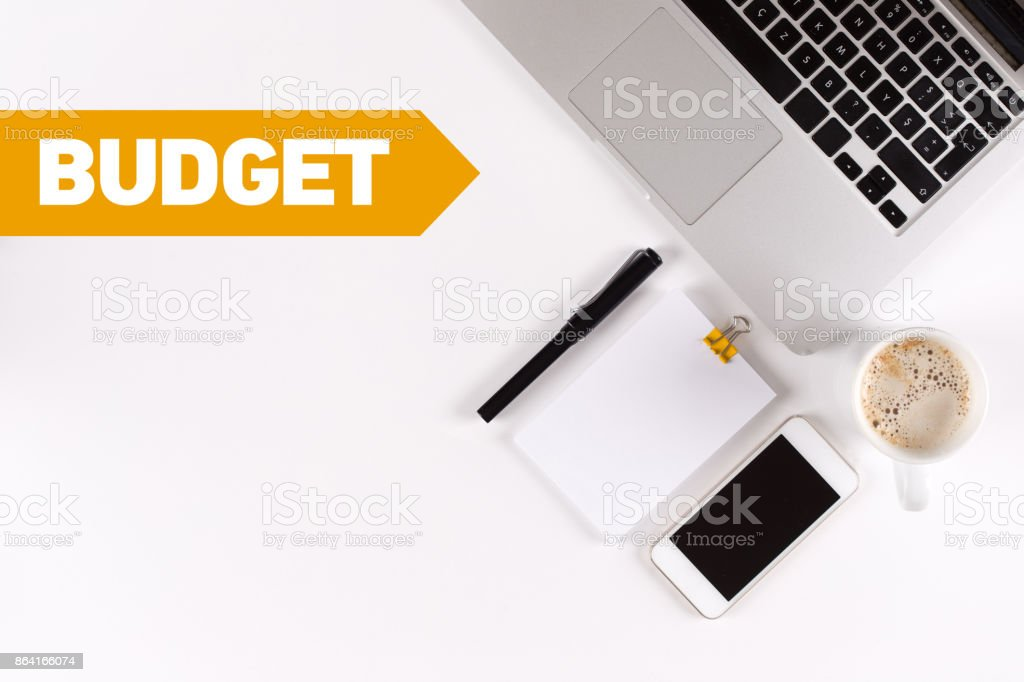 Budget text on the desk with copy space royalty-free stock photo