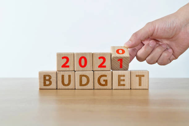 2021 budget text on wooden blocks stock photo