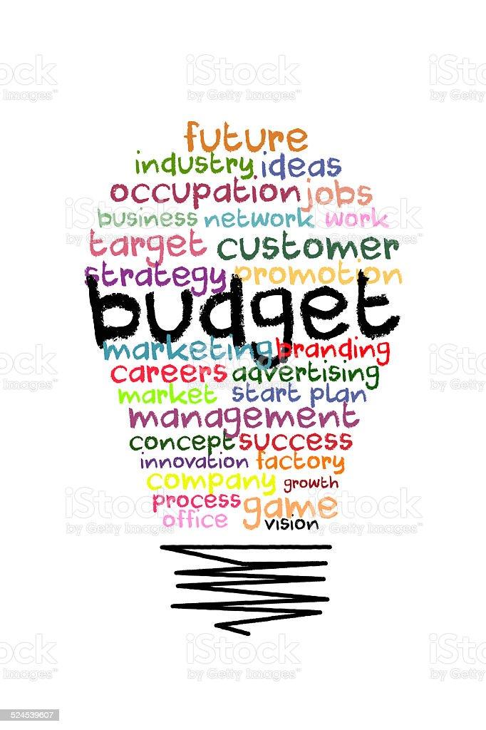 budget word on colorful light bulb shape stock photo