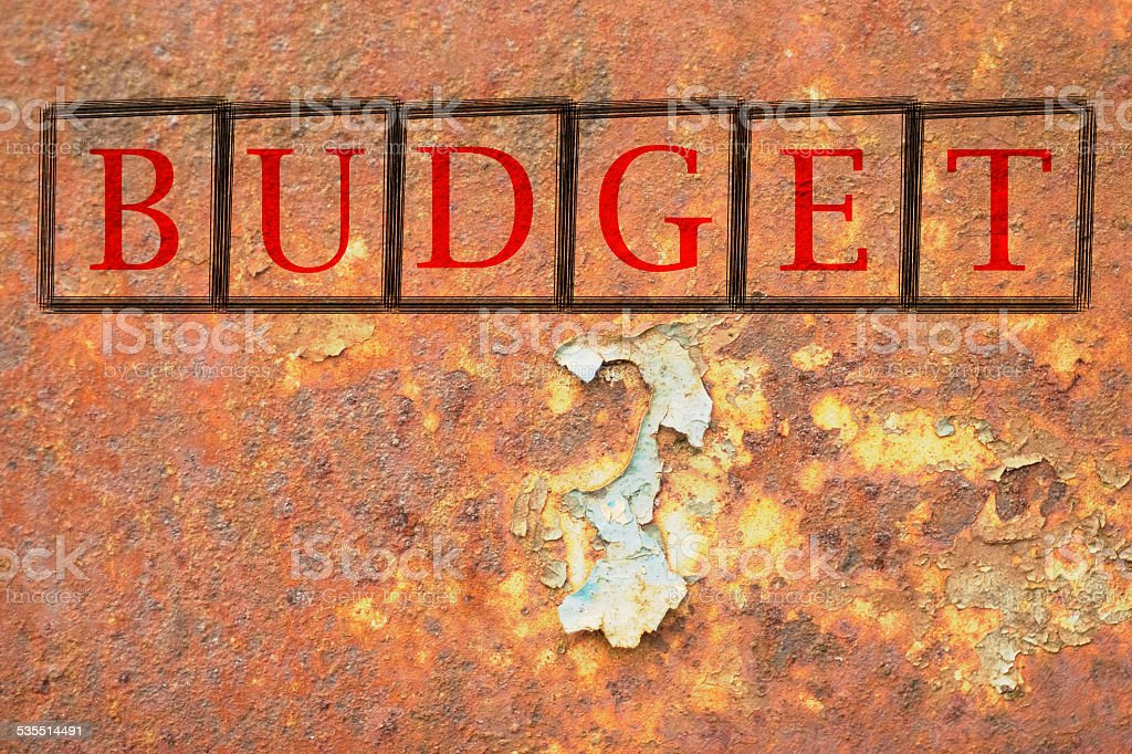 budget written on a wall background stock photo