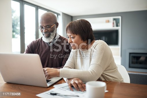 Cropped shot of a happy senior couple using a laptop in their living room to look at their financial budgets