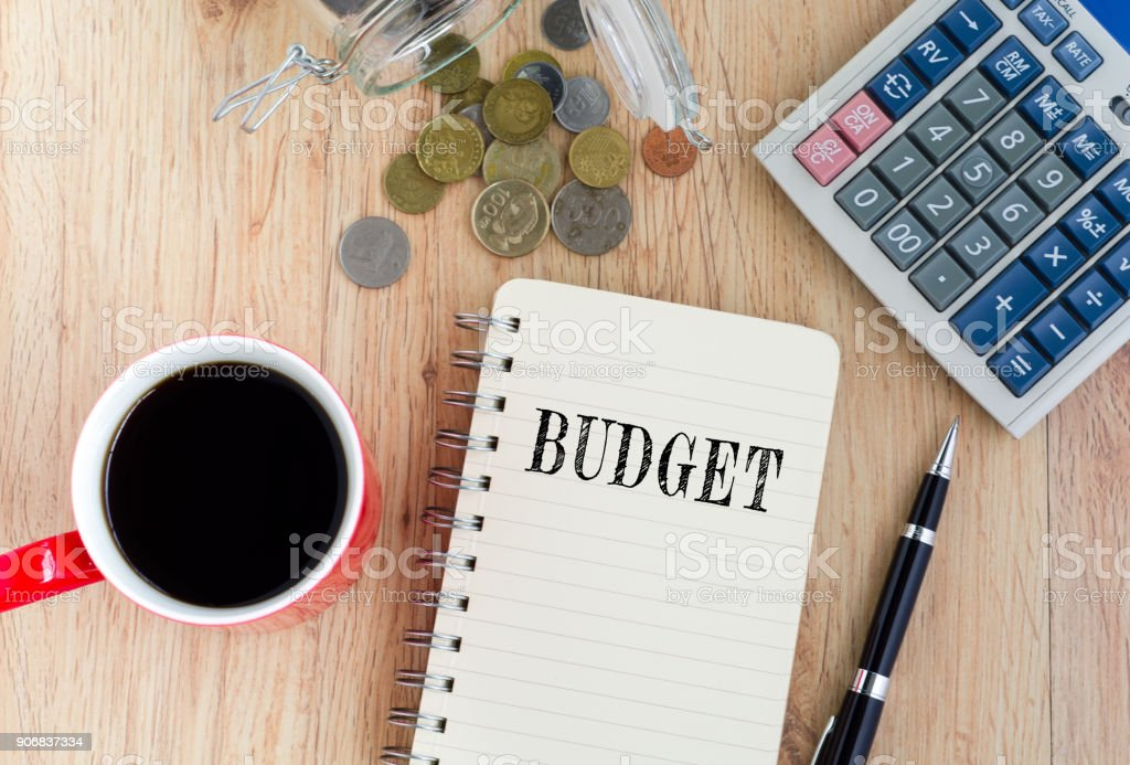 BudgetText on Notepad stock photo