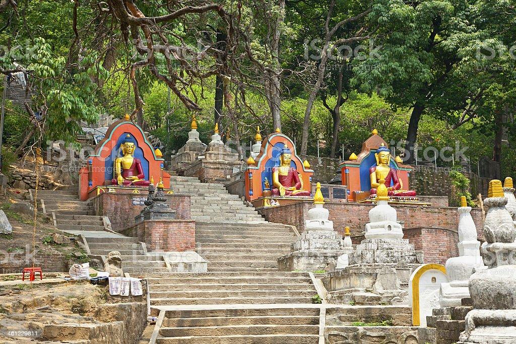 Budha statue in Swayambhunath  Monkey temple ,  Kathmandu, Nepal stock photo