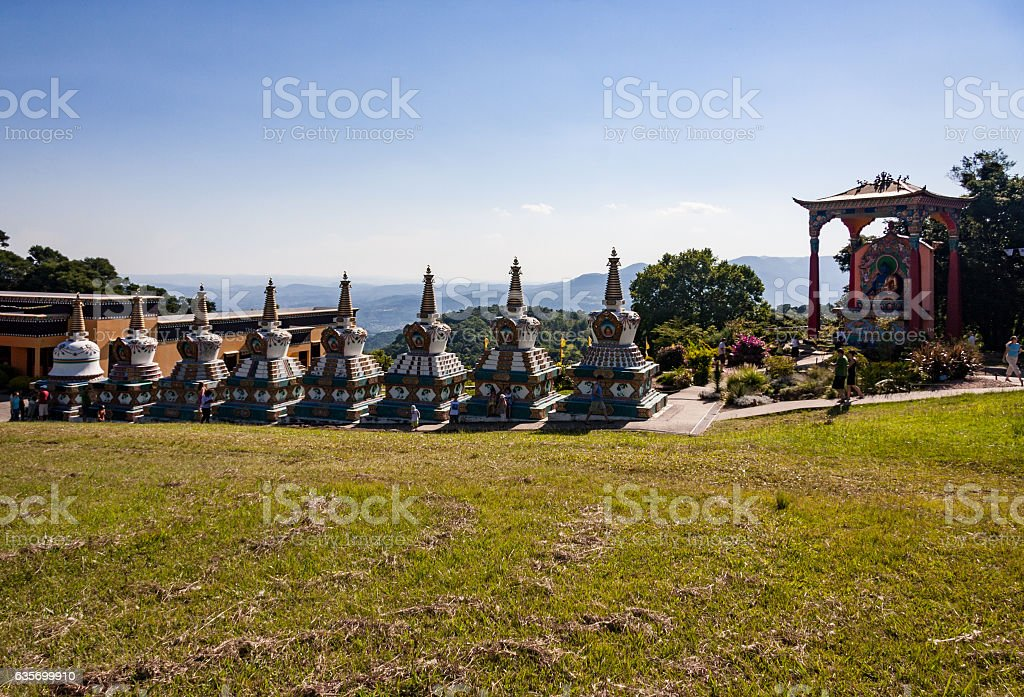 Budhist Stupas Khadro Ling Temple royalty-free stock photo