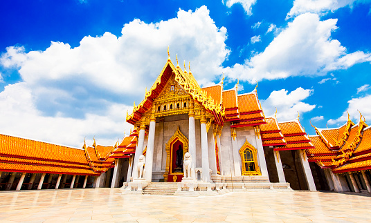 Buddhist temple Wat Benchamabophit also known as Marble temple, Bangkok city, Thailand