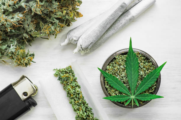 buds of marijuana, Leaf of cannabis, joint and a grinder with crushed weed on a white background close up top view - foto stock