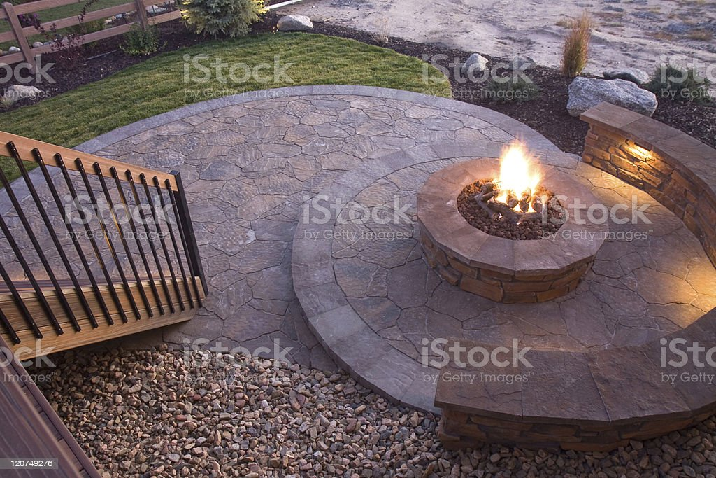 Bueatiful backyard firepit stock photo