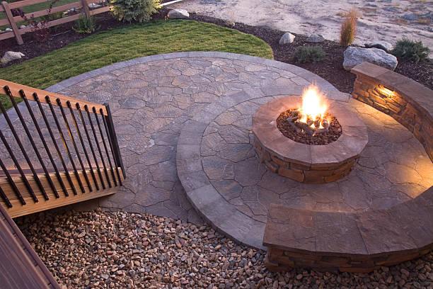 Bueatiful backyard firepit stock photo