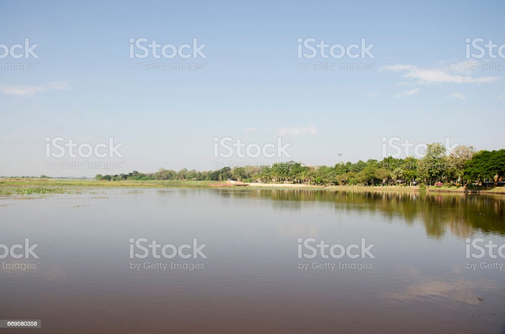 Bueng Si Fai lake in Phichit, Thailand stock photo