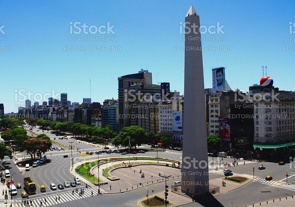 Buenos Aires and its obelisk stock photo