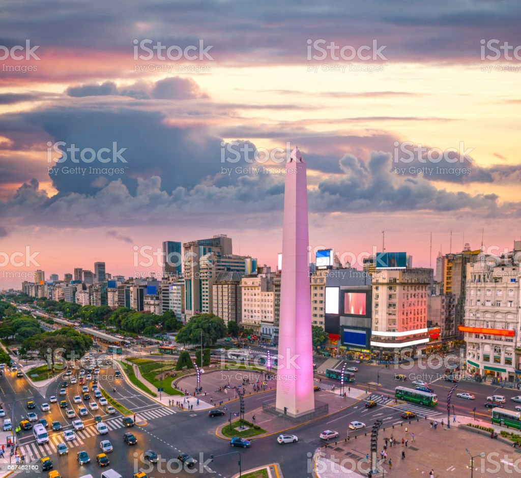 Buenos Aires Argentina downtown rush hour sunset stock photo
