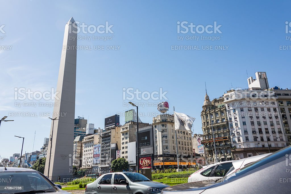 Buenos Aires, Argentina  Traffic Jam 9 de Julio stock photo