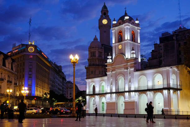 Buenos Aires Cabildo, the old town council, by night, Plaza De Mayo, main city square in Buenos Aires, Argentina stock photo