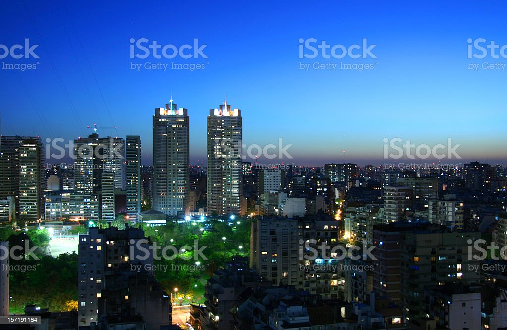 Buenos Aires city at night stock photo