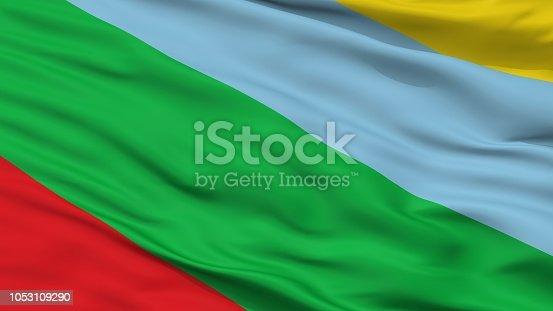 istock Buenos Aires City Flag, Costa Rica, Closeup View 1053109290