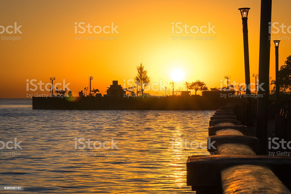 Buenos Aires City waterfront at sunset stock photo