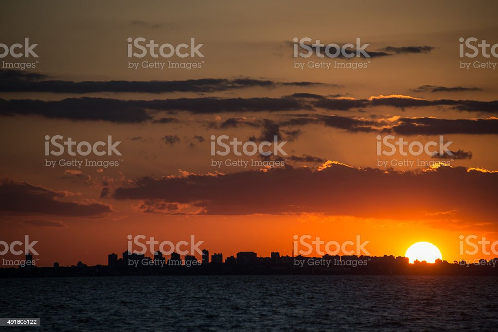 Buenos Aires Cityscape Sunet. Sailing South America, Argentina. stock photo