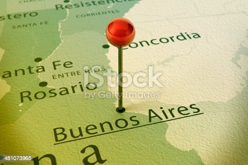 istock Buenos Aires Map City Straight Pin Vintage 481073965