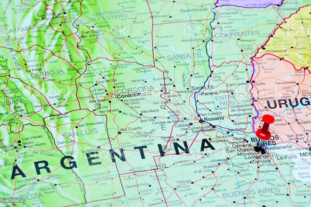 Buenos Aires pinned on a map of Argentina stock photo