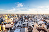 Buenos Aires Skyline at sunset - Aerial view of the city. Monserrat district.