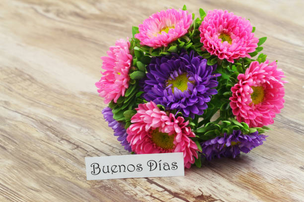 Buenos dias (good morning in Spanish) card with daisy flowers stock photo