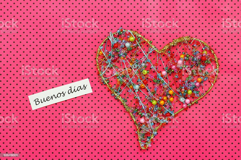 Buenos dias (good morning in Spanish) card with heart stock photo