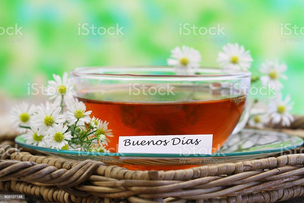 Buenos Dias Mit Kamille Tee Stockfoto Und Mehr Bilder Von