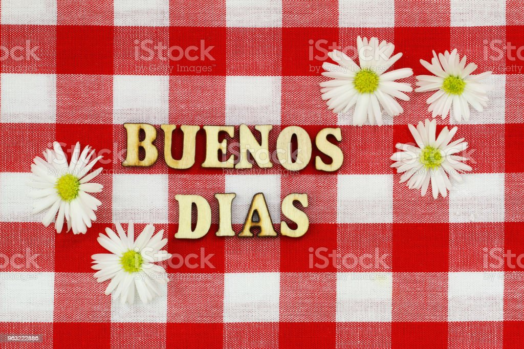 Buenos Dias (good morning in Spanish) written with wooden letters on red and white checkered cloth with daisy flowers stock photo