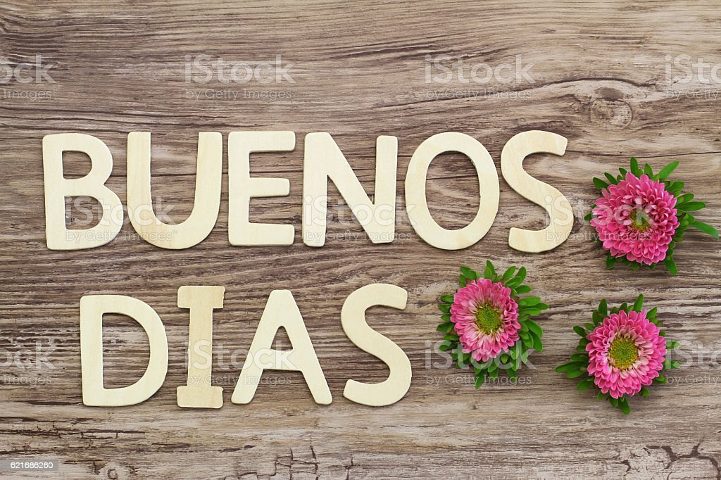 Buenos dias (good morning in Spanish) written with wooden letters stock photo