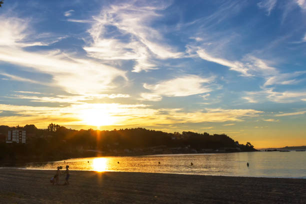 Bueu beach at sunset stock photo